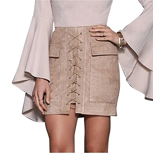 Donna Vintage Minigonna A Vita Alta Fasciatura Cocktail Festa Bodycon Gonna Corta Beige