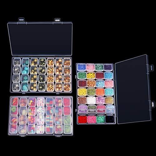 Sortierbox (3 Pack) - 28 Fächern (11 x 17,5 cm) Kunststoff 5d Diamant Painting Sortierboxen mit weißer Etikettenaufkleber - Schmuck Organizer für Diamant Malerei Zubehör, Strass, Nail Art und Perlen