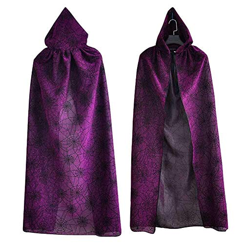 Kostüm Hooded Robe Purple - Hcxbb-b Halloween Kostüm, Mysterious Hooded Robe Cloak, Spinnennetz Gedruckt, Medieval Knight Wizard Hexe Cosplay, Unisex (Farbe : Purple, Size : One Size)
