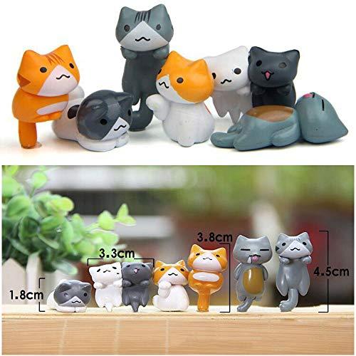 (AMCORN Miniatur-Dekofigur, Feengarten, niedliche Katzen, hübsche Dekoration, Cartoon-Tiere, Miniatur, Kunstharz)