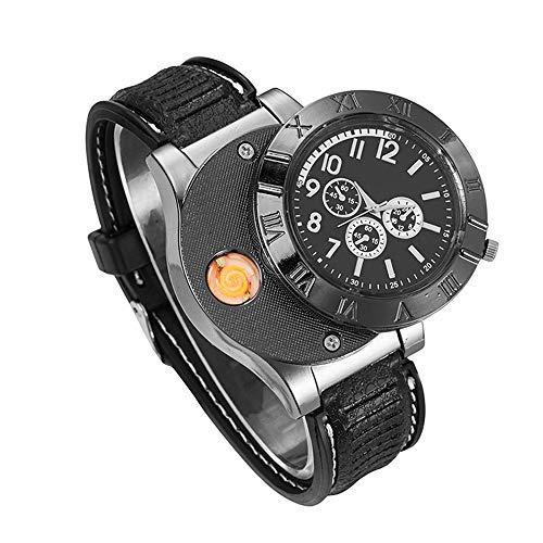 Relojes Pulsera Militar USB A Prueba de Viento Sin Llama Encendedor de Cigarrillos Relojes Hombres Correa Goma Creativo, Negro
