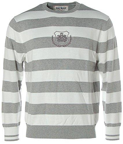 Arqueonautas Herren Pullover Strick Rundhals Streifen Grey melange/Offwhite