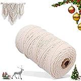 PDTO Makramee Baumwolle Garn Natur Kordel Schnur Garn Baumwolle Kordel Baumwollegarn Baumwollschnur Rope für DIY Handwerk Basteln Wand Aufhängung Pflanze Aufhänger 100m x 3mm