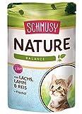 Schmusy Katzenfutter Nature Balance für Kitten mit Lachs 100 g, 24er Pack (24 x 100 g)