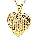 U7 Frauen Mädchen Halskette Punkte Muster Herz Anhänger zum Öffnen mit 50+5cm Kette Gelbgold überzogen Herz Medaillon Photo Bilder Amulett Geschenk für Valentinstag Weihnachten, Gold