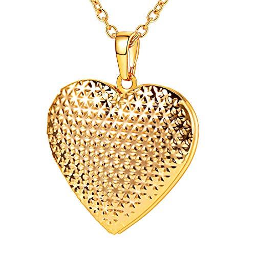 U7 Frauen Mädchen Halskette Punkte Muster Herz Anhänger zum Öffnen mit 50+5cm Kette Gelbgold überzogen Herz Medaillon Photo Bilder Amulett Geschenk für Valentinstag Weihnachten, Gold - 5 Herz