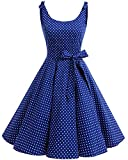 bbonlinedress 1950er Vintage Polka Dots Pinup Retro Rockabilly Kleid Cocktailkleider Royalblue White Dot L