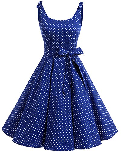 Vintage Polka Dots Pinup Retro Rockabilly Kleid Cocktailkleider Royalblue White Dot XS (1960 Kleid)