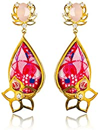 Miranika Gold Plated Drop Earrings for Women (Multi-Colour)(C1D12PS1)