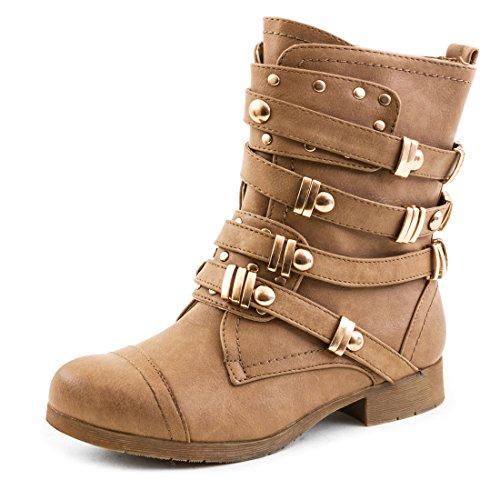 Stylische Damen Worker Boots Stiefel Stiefeletten Nieten Schuhe in hochwertiger Lederoptik Khaki