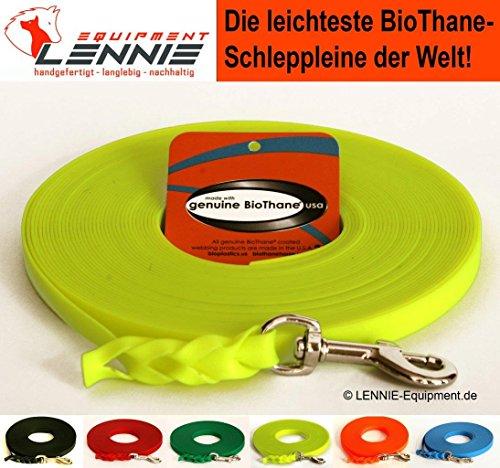 BioThane® Schleppleine für sehr kleine Hunde, 9 mm Ultra Thin (1-30 Meter [25 m], 6 Farben [Neon-Gelb], GEFLOCHTEN, ohne Handschlaufe)