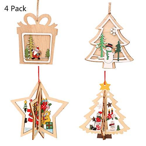 Flyty Weihnachtsbaum Hölzern Dekoration 4 Packung Party Zuhause Abnehmbare Ornamente Kinder DIY hängen Dekor mit Hanfseil Set A -