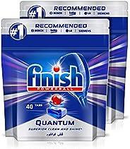 اقراص مسحوق الغسيل لغسالات الاطباق، كوانتم ماكس من فينيش، 80 قرص (عبوة من 2)
