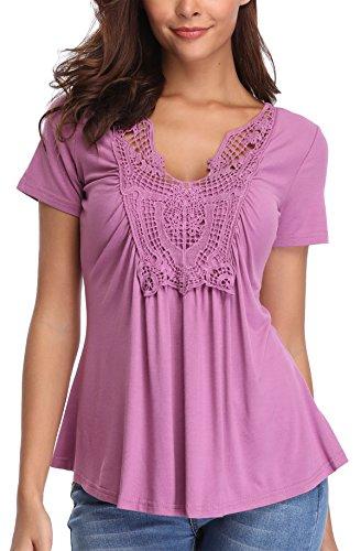 MISS MOLY Bluse Damen Elegant Kurzarm Lässige Oberteile T-Shirt Hell Violett Medium