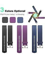 Fitbit Charge 2correa, 3unidades, carga 2HR Reemplazo Muñequera, pequeño corazón tasa y Fitness Pulsera para 2de carga, especialmente diseñado para las mujeres y las niñas (violeta, azul y negro)
