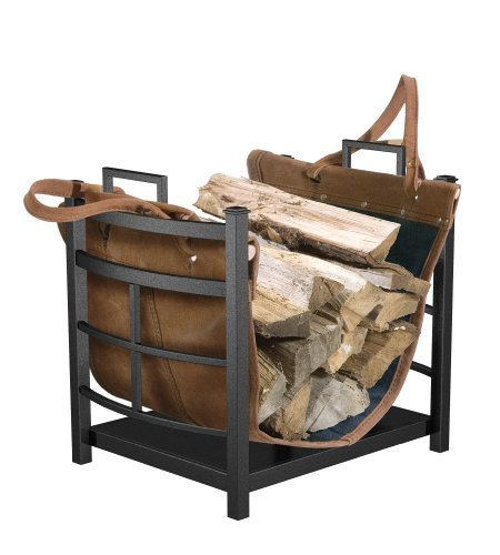 Log Bin (Panacea Products 15245 Mission Log Bin with Leather Carrier for Fireplace by Panacea Products)