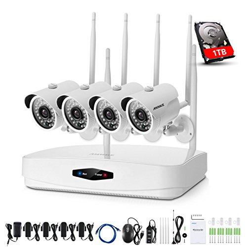 Annke kit videosorveglianza wifi nvr 1080p 4 canali 4 wifi telecamera sorveglianza 1080p videosorveglianza esterno antifurto casa allarme email 100ft/30m visione notturna h.264 ip66 manuale italiano 1tb hdd