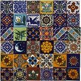 Salazar - 120 Mexikanische fliesen 5x5 cm, Talavera Bad und Küche Kacheln | Deko für Badezimmer, Dusche, Treppen, Küchenrückwand, wie fliesenaufkleber | Zementfliesen, Marokkanische Motiven