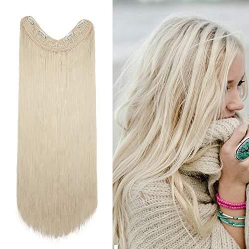 Extension clip capelli lisci lunghi biondi fascia unica 65cm pesa 180g linea a forma u cucita con 4 clips posticci donna - biondo chiaro