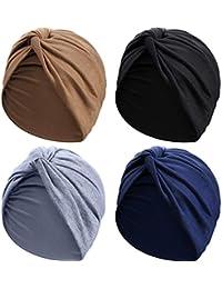 4 Piezas Gorro Turbante para Mujeres Gorro de Nudo Pre Atado Suave Pañuelo de Cabeza Plisada de Moda Gorra de Dormir, 4 Colores