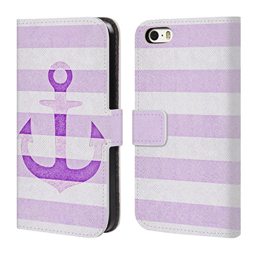 Offizielle Monika Strigel Weiss Vintage Anker Brieftasche Handyhülle aus Leder für Apple iPhone 5 / 5s / SE Lavendel