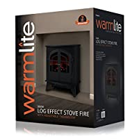 Warmlite WL46015 2-Door Log Effect Stove Fire, 2000 W, Black