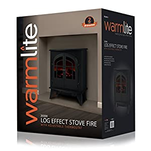 Warmlite WL46015 2-Door Log Effect Stove Fire, 2000 W, Black