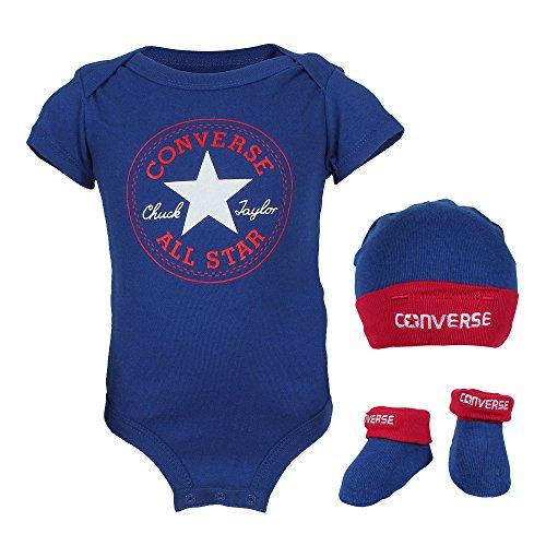 Converse Baby-Jungen 3 Piece Bekleidungsset, Blau (Blue), 0/6 Monate (Herstellergröße: 0-6M)