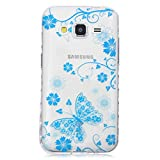Samsung Galaxy Core Prime G360 Hülle [Mit gehärtetem Glas-Bildschirmschutz], Grandoin (TM) modische flexible schöne Zeichnung aufgedruckte Muster-stoßabfangende-Gehäuse-Hülle, ausgezeichneter weicher Qualitäts-Silikon-Gummi Extra ultra dünnes buntes TPU Design-schützende Rückseiten-Abdeckungs-Hülle Ideal passend für Samsung Galaxy Core Prime G360