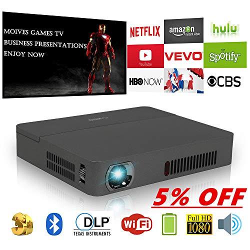 Mini proiettore WiFi portatile Bluetooth DLP con altoparlanti HDMI Batteria HD 1080P LED Proiettore multimediale per attività wireless HDMI USB SD Audio per piccole note Film Giochi campo all'aperto