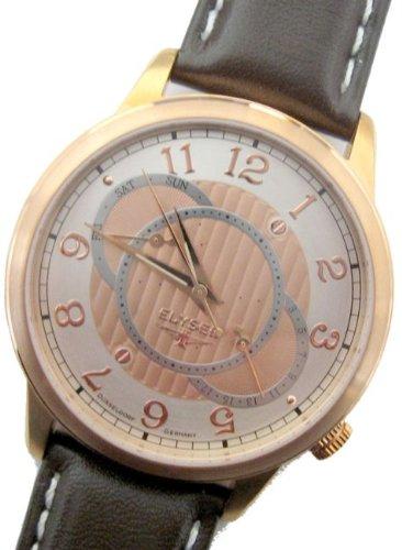 Elysee Men's Quartz Watch with Black Dial Analogue Display Quartz Leather 67011