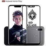 JGDWORLD Full Glue 6D Tempered Glass Full Edge-to-Edge Screen Protection for Huawei Honor Play (2018) (Pack of 1, Black 6D)