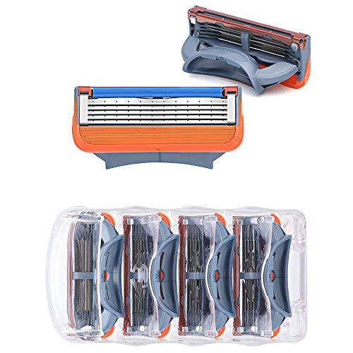 WXH Men es Razor Ultra Sharp 5 Blade Design Replacement-Built-In Fine Graving Trimmer-Lubrication Aloe Vera and Vitamin E-4 Knife Head