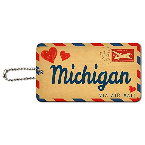 Michigan Holz (Air Mail Postkarte LOVE für Michigan Holz ID-Tag Gepäck-Koffer Handgepäck)
