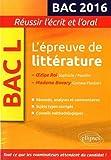 L'épreuve de littérature BAC L 2016 : Oedipe Roi, Sophocle/Pasolini ; Madame Bovary, Gustave Flaubert