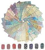 288 Pezzi Stencil Unghie Adesivo,AOBETAK 24 Fogli 96 Disegni Differenti Set d'Unghie Arte Vinili Adesivi Stencil, Set Decorazione Unghie per Nail Art