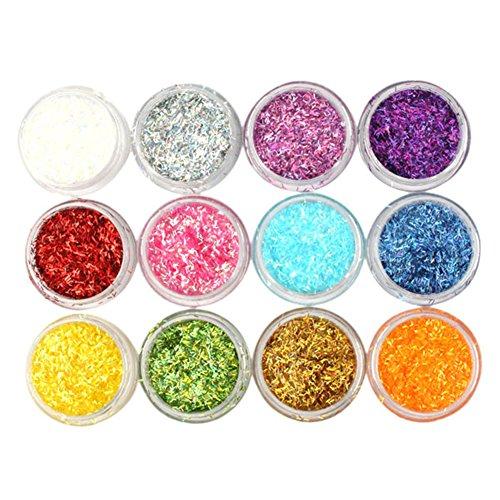 Générique 12 Pots Paillettes Colorées Rectangulaires - 12 Couleurs DiffšŠrentes