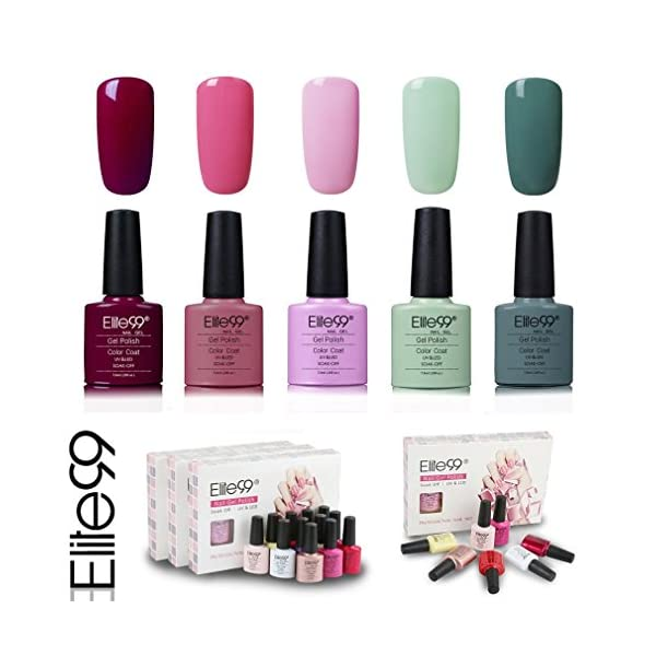 Elite99 Esmalte de Uñas Semipermanente Uñas de Gel UV LED Kit de Manicura 5pcs en Caja Pintauñas Soak off 7.3ml – Kit…