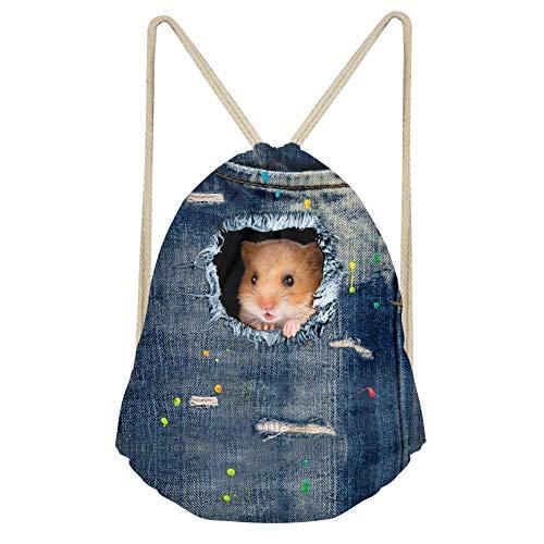 Showudesigns Denim Animal schwarz Kordelzug Tasche Outdoor Reisen Rucksack für Kinder Geschenk M Hamster (Basketbälle Bulk Billig In)