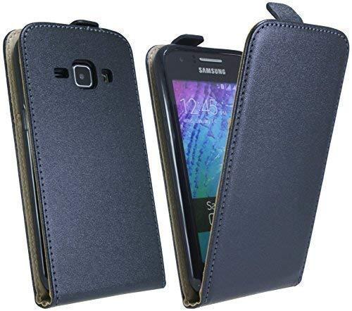 ENERGMiX Handytasche Flip Style kompatibel mit Samsung Galaxy J1 (J100H) in Schwarz Klapptasche Hülle