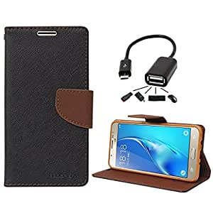 Online Street Premium Flip Cover With OTG Cable For Samsung Galaxy G530 - (Black Brown + OTG)