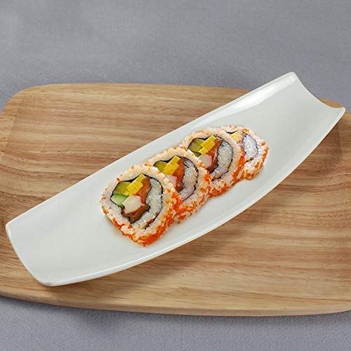 LI plaque- Pur Blanc Hôtel Vaisselle En Céramique Simple Plat Rectangulaire De Sushi Plat Plat Restaurant Buffet Snack Cake Set Plat tableware (taille : 35×12cm)
