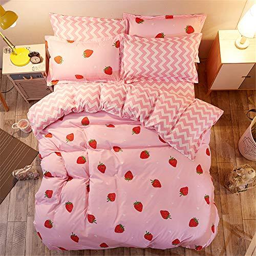 Morbuy Bettwäsche Bettbezug Set, 3 Teilig Bettgarnitur Bettwäsche - Set Gemütlich 100% Mikrofaser mit Reißverschluss 1 Bettbezug + 2 Kissenbezug (200x200CM, Stiftung Erdbeere)