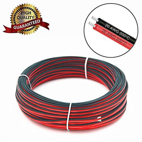 VEENY Verlängerungskabel Draht 66ft 20M 20AWG 300V AC Kabel Draht für 3528/2835/5050 LED Lichtleiste Einzel Farbe mit 10 freien Draht Haltern & einem kompakten Draht Abstreifer (20AWG 20M) -