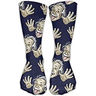 Yuerb Hohe Socken Casual Funny Albert Einstein Stoking Crew Long Socks Breathable Travel Stocking One Size