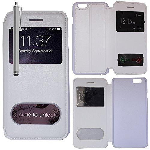VComp-Shop® PU-Leder Schutzhülle mit Sichtfenster für Apple iPhone 6/ 6s + Großer Eingabestift - PINK WEISS + Großer Eingabestift