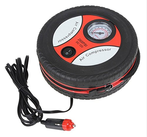 CONNECTWIDE® Air compressor-260PSI DC12V Mini Tyre Tire Air Inflator Air Compressor Portable Electric Car Auto Air Pump ideal for inflating tires, balls, rubber floater, hovercraft Qty.(1pcs) Size- 180 x 180 x 65mm  available at amazon for Rs.599