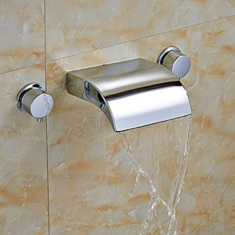 Deluxe Faucet Roman Chrome Brass Waterfall Bathroom Tub Faucet Dual Handles Sink Mixer Tap New