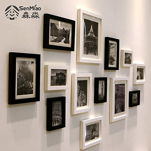 HJKY Photo Frame Wall Set Moderne und Minimalistische Massivholz schwarz-weiß Fotos an den Wänden im Wohnzimmer an der Wand, Wand continental Foto wand Kombination B, Schwarz-weiß, schwarz-weiß Bild-Gebäude hinaus