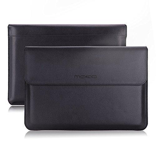 MoKo 10-11 Zoll Laptop / Tablet Hülle - PU Leder Tasche Schutzhülle Ledertasche Aktentasche Wallet Case Leather Sleeve mit Karten-Slot für Acer One 10.1' / ThinkPad 10 10.1' / Surface 3 10.8', Schwarz